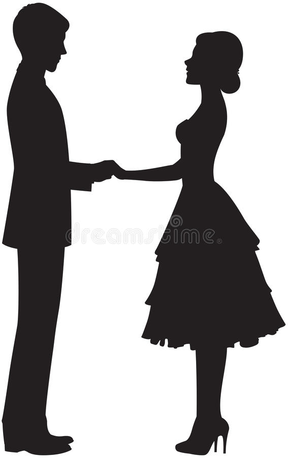 Silhouette d'un couple tenant des mains illustration de vecteur