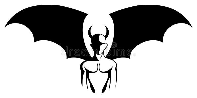 Silhouette d'un diable stylisé dans le blanc et le noir d'isolement illustration de vecteur
