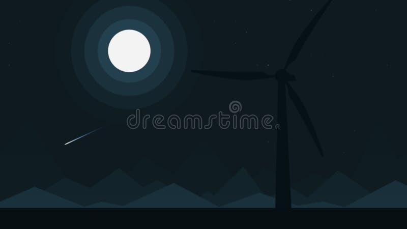 Silhouette d'un générateur de vent la nuit pleine lune, illustration de bande dessinée illustration libre de droits