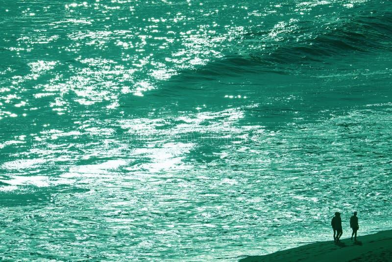 Silhouette d'un groupe de personnes marchant le long de la plage de la mer venteuse dans le ton de couleur verte photos libres de droits