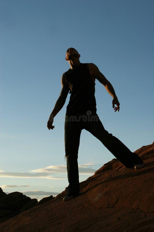 Silhouette d'un homme photos libres de droits