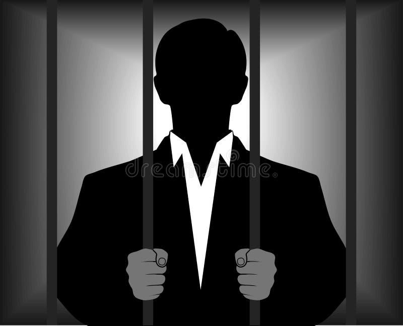 Silhouette d'un homme derrière des barres illustration libre de droits
