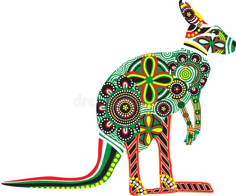 Silhouette d'un kangourou avec des conceptions australiennes illustration libre de droits