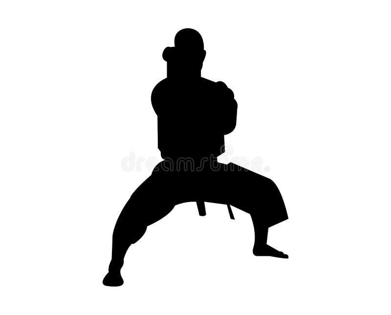 Silhouette d'un karateka dans une position illustration libre de droits