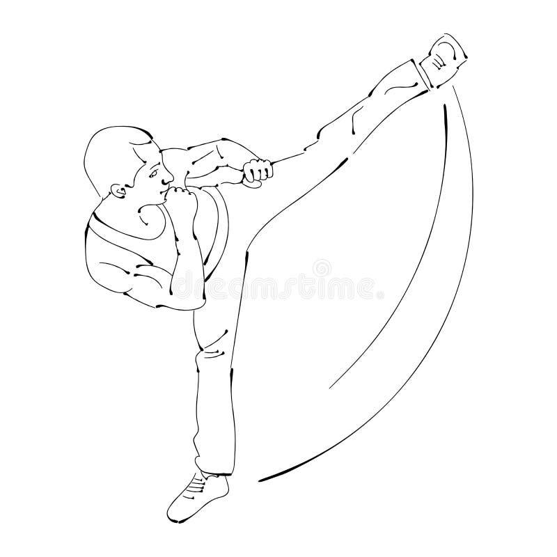 Silhouette d'un karateka faisant le coup-de-pied latéral debout illustration de vecteur