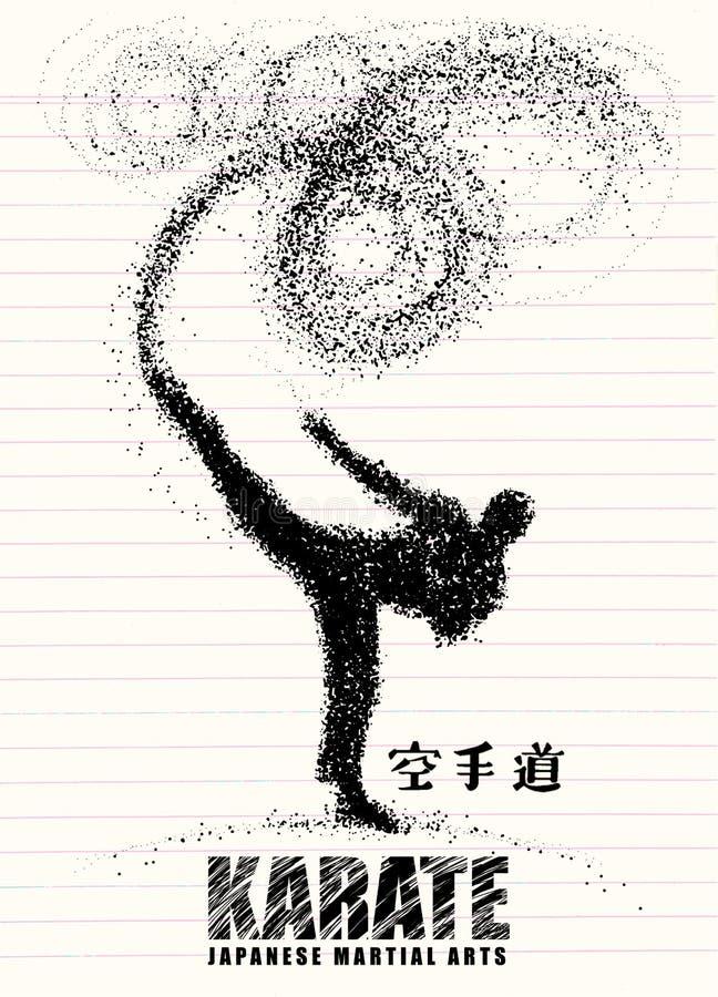 Silhouette d'un karateka faisant le coup-de-pied latéral debout graphi de vecteur illustration de vecteur