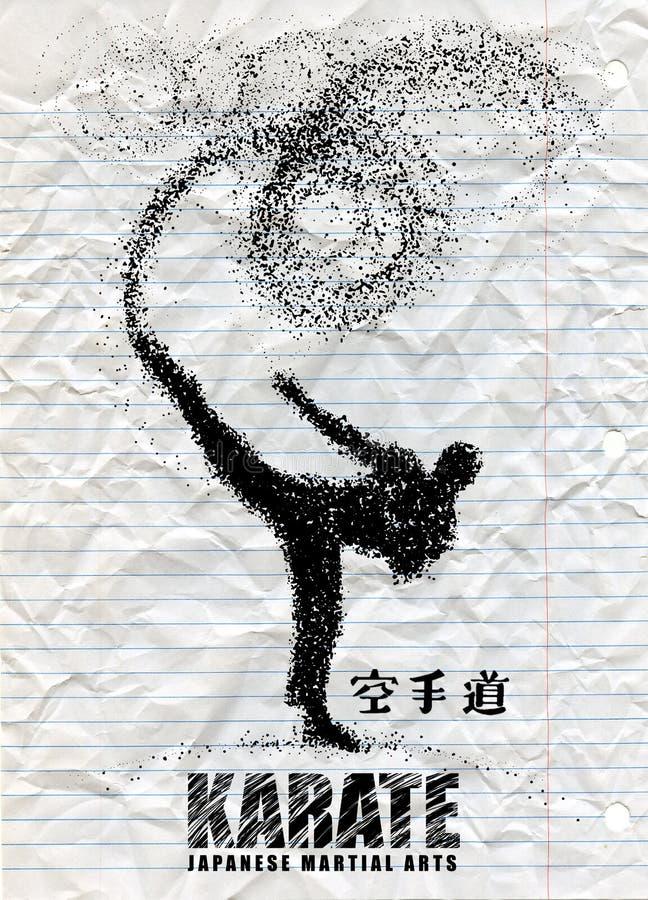 Silhouette d'un karateka faisant le coup-de-pied latéral debout graphi de vecteur illustration stock
