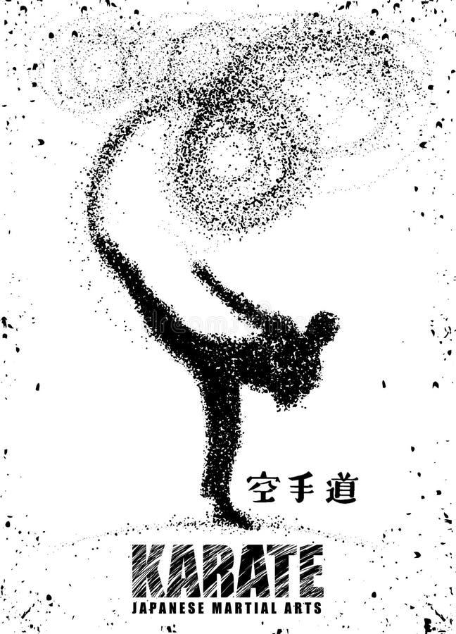 Silhouette d'un karateka faisant le coup-de-pied latéral debout graphi de vecteur illustration libre de droits