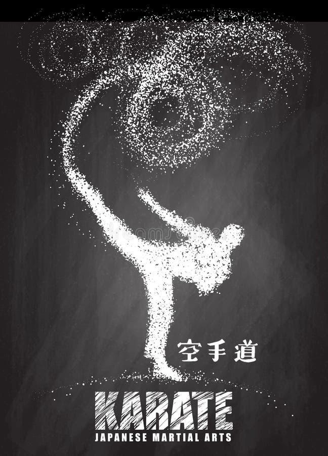 Silhouette d'un karateka faisant le coup-de-pied latéral debout Vecteur illustration libre de droits