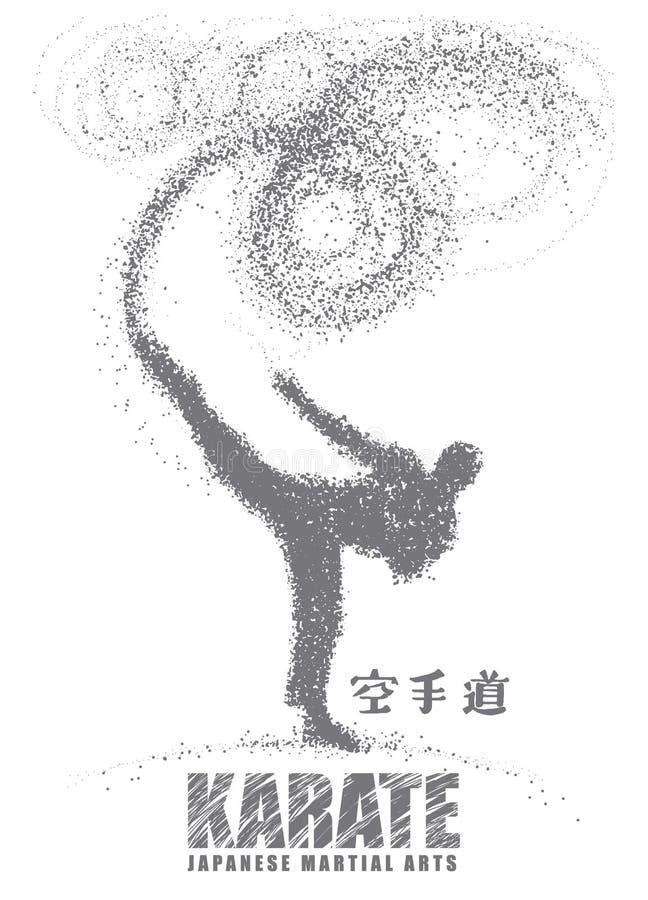 Silhouette d'un karateka faisant le coup-de-pied latéral debout Vecteur illustration de vecteur