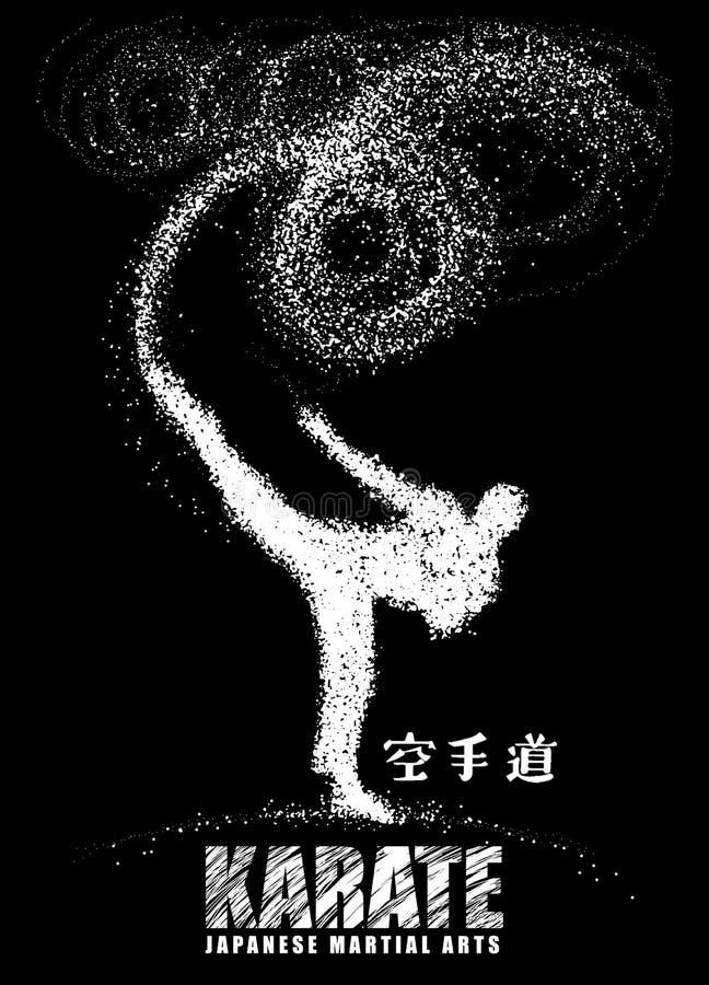 Silhouette d'un karateka faisant le coup-de-pied latéral debout Vecteur illustration stock