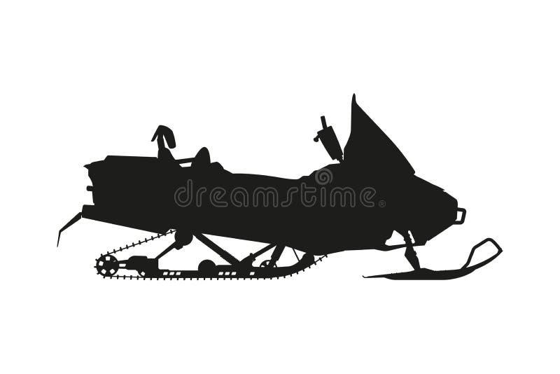 Silhouette d'un motoneige sur un fond blanc Transport pour illustration de vecteur
