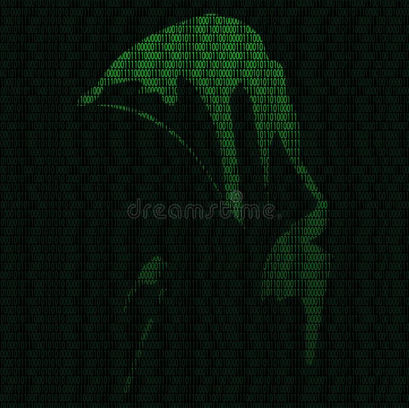 Silhouette d'un pirate informatique illustration stock