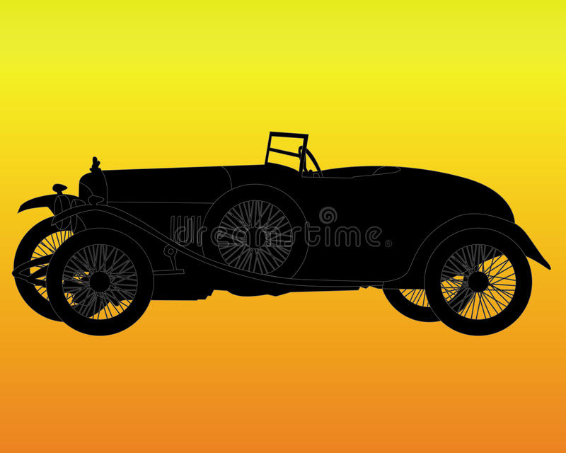 Silhouette d'un rétro véhicule illustration de vecteur