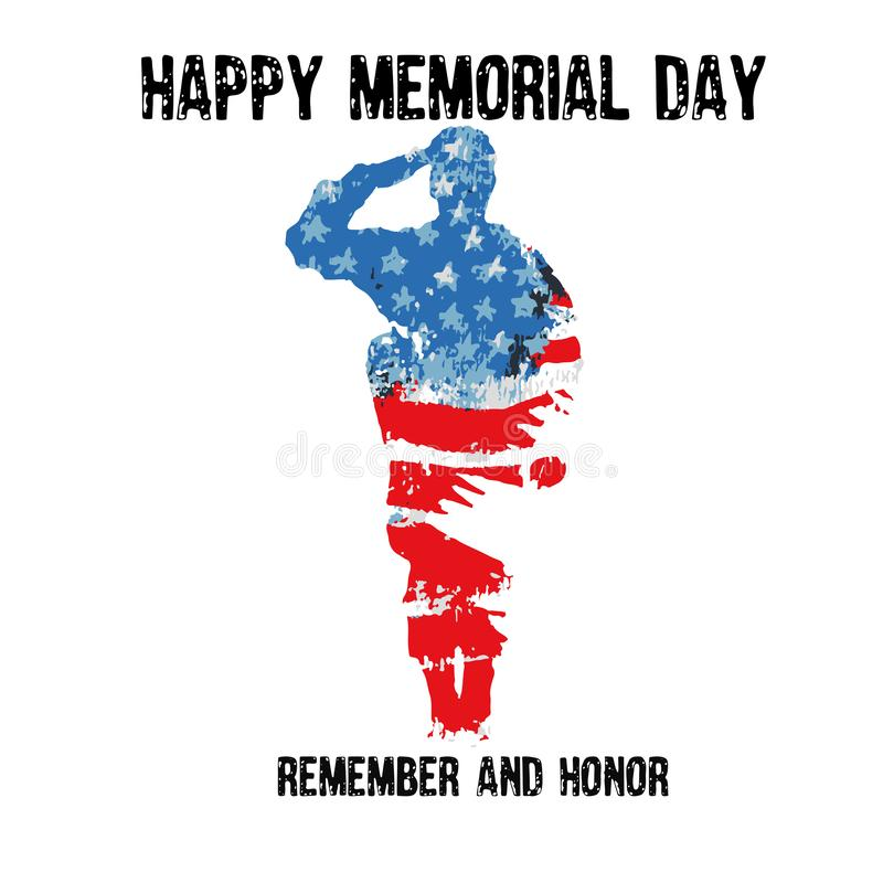 Silhouette d'un soldat saluant avec le Jour du Souvenir des textes pour se rappeler et honorer Indicateur am?ricain illustration stock