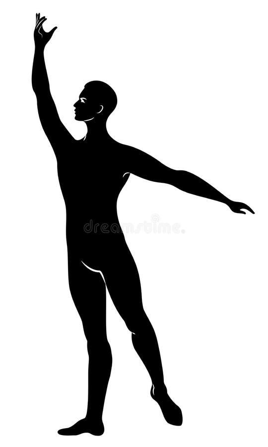 Silhouette d'un type mince, danseur classique masculin Le danseur a une belle figure mince, un corps fort Illustration de vecteur illustration de vecteur