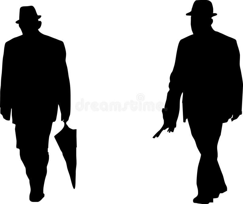 Silhouette d'un vieil homme illustration libre de droits