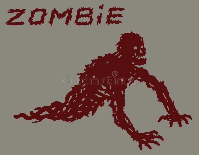 Silhouette d'un zombi de rampement rouge avec leurs jambes arrachées Illustration de vecteur illustration de vecteur