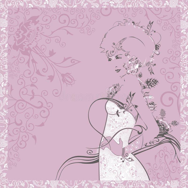 Silhouette d'une belle et élégante femme dans la robe blanche Carte de voeux le 8 mars, le jour des femmes internationales, jour  illustration stock