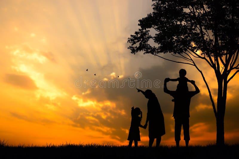 silhouette d'une famille heureuse de cinq personnes, de mère, de père, de bébé, d'enfant et de nourrisson (prenancy de femmes) photographie stock libre de droits