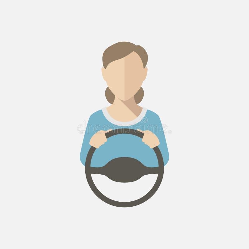 Silhouette d'une femme dans un chemisier bleu conduisant une voiture Illustration de vecteur, icône de vecteur illustration stock