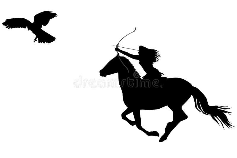 Silhouette d'une femme de guerrier d'Amazone montant un cheval avec l'arc illustration libre de droits
