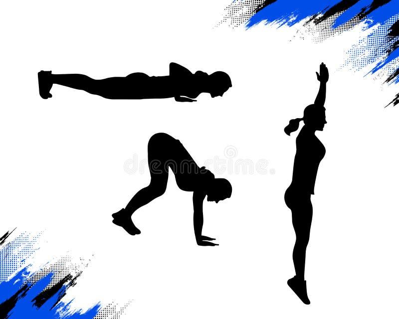 Silhouette d'une femme faisant l'exercice de burpee illustration libre de droits