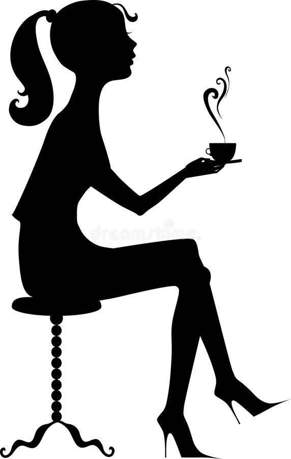 Silhouette d'une fille avec du café illustration stock