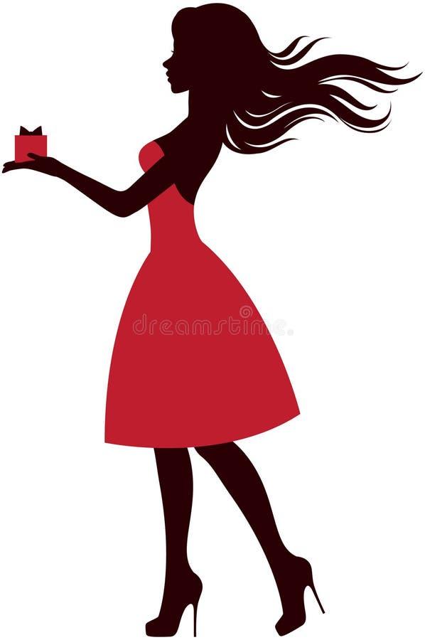 Silhouette d'une fille avec un cadeau illustration libre de droits