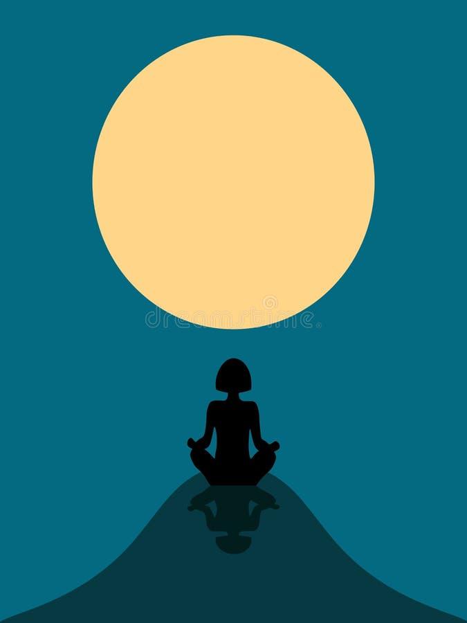 Silhouette d'une fille contre la lune illustration de vecteur