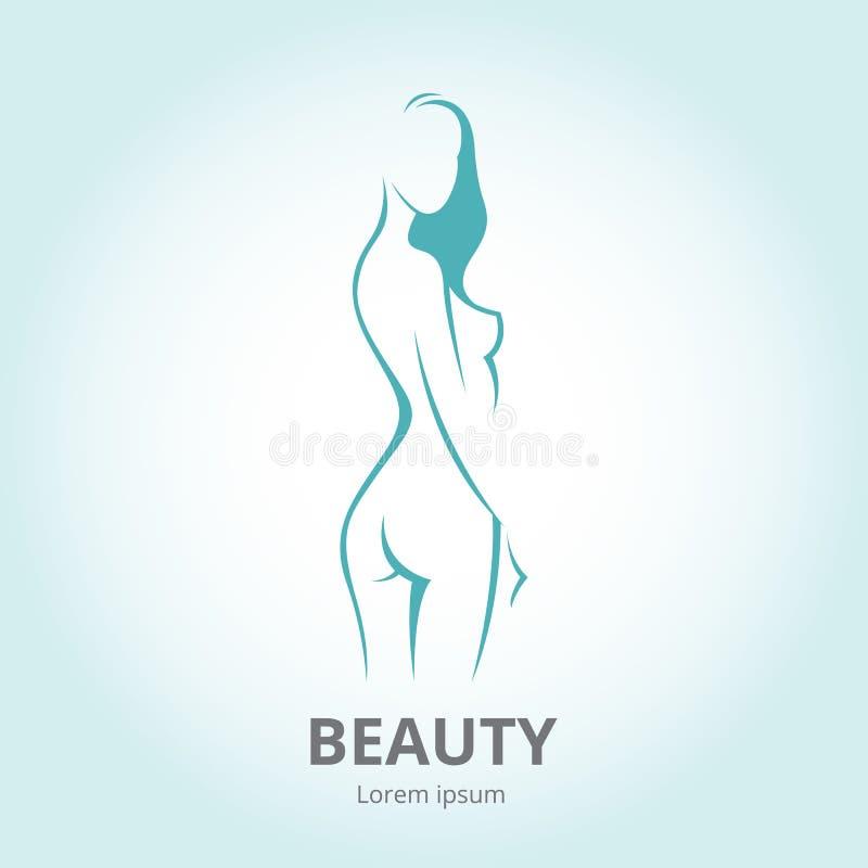 Silhouette d'une fille dans le logo de calibre de profil ou un résumé illustration libre de droits