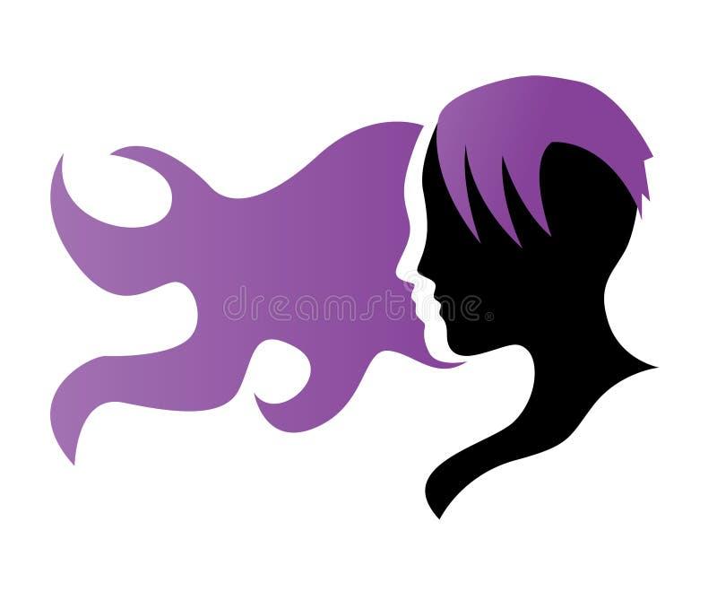 Silhouette d'une fille dans le profil avec de longs cheveux illustration libre de droits