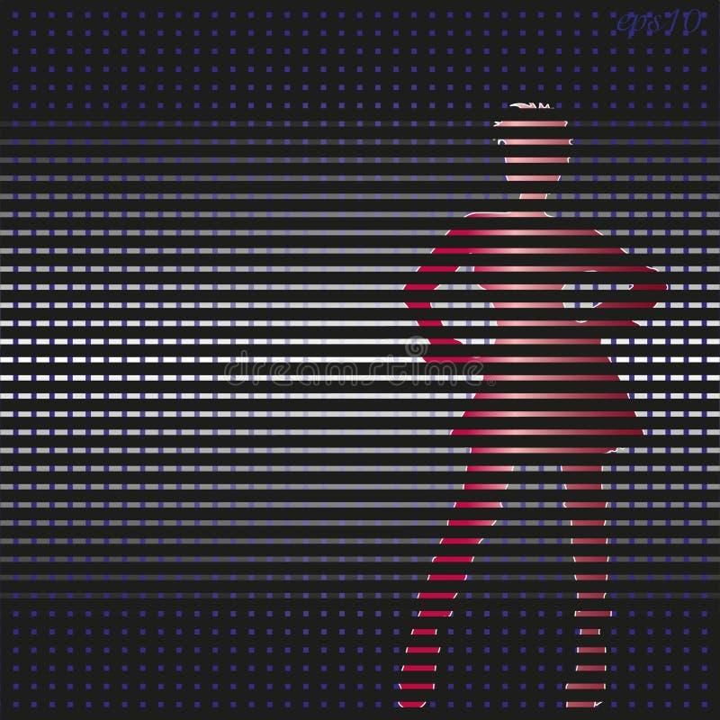 Silhouette d'une fille en rouge illustration stock