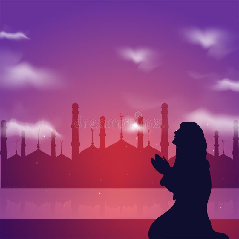Silhouette d'une fille musulmane priant devant la mosquée Mont saint illustration stock