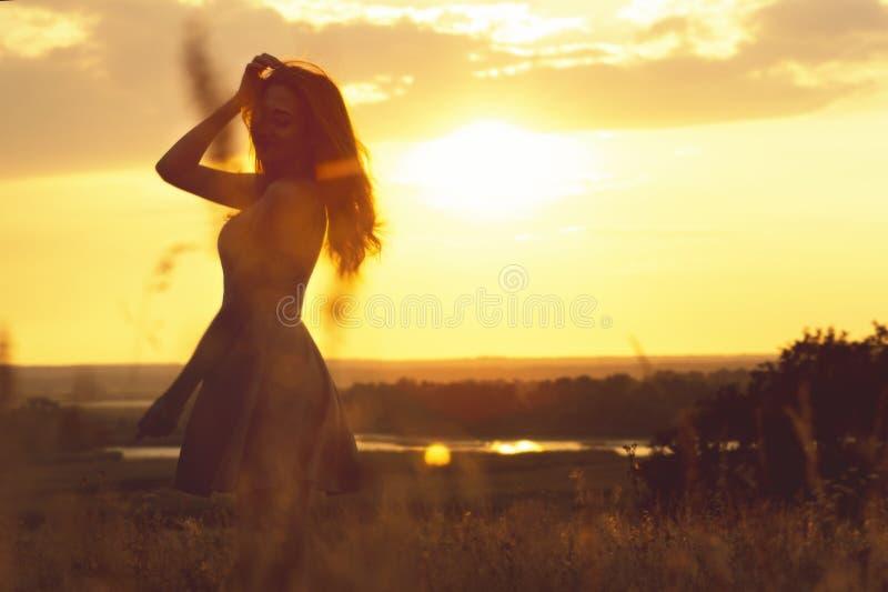 Silhouette d'une fille rêveuse dans un domaine au coucher du soleil, une jeune femme appréciant la nature photographie stock libre de droits