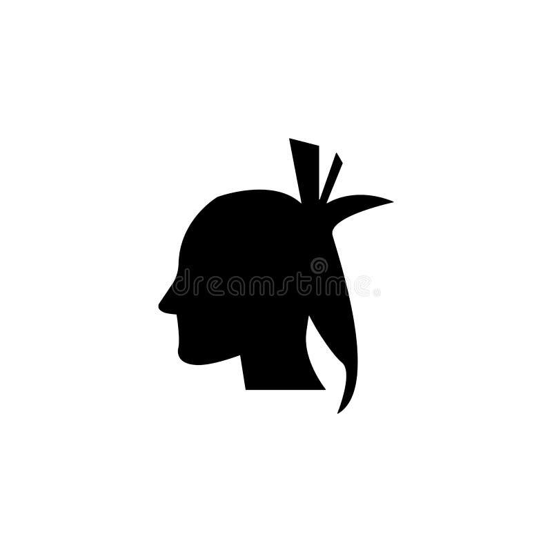 silhouette d'une icône indienne Élément d'icône occidentale sauvage pour les apps mobiles de concept et de Web Silhouette matérie illustration stock