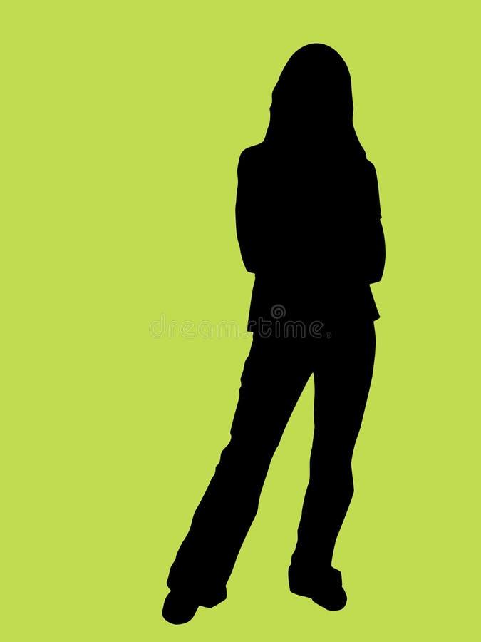 Silhouette d'une jeune femme photo libre de droits