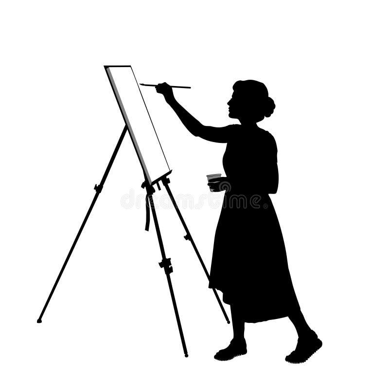 Silhouette d'une jeune femme qui peint un tableau sur le chevalet illustration libre de droits