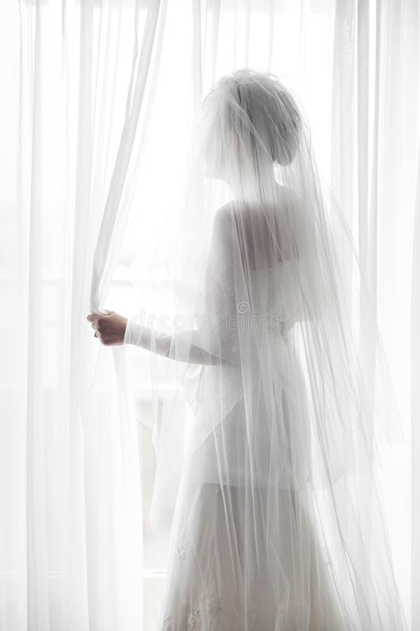 Silhouette d'une jeune mariée image libre de droits