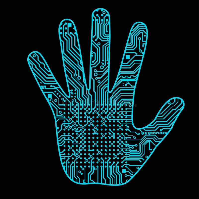 Silhouette d'une main d'homme avec un modèle de pointe de carte d'ordinateur il peut illustrer des idées scientifiques liées à illustration libre de droits