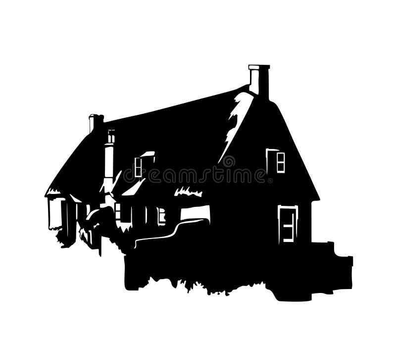 Silhouette d'une maison rurale photo stock