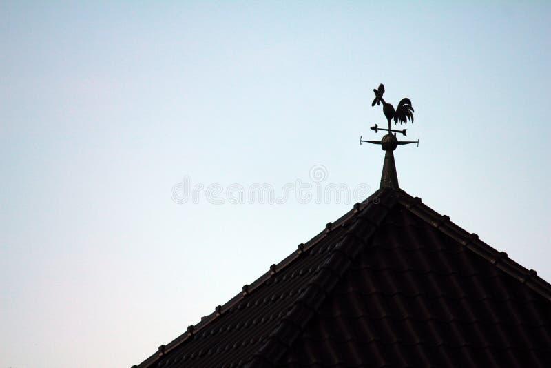 Silhouette d'une palette de temps de coq sur le toit photos stock