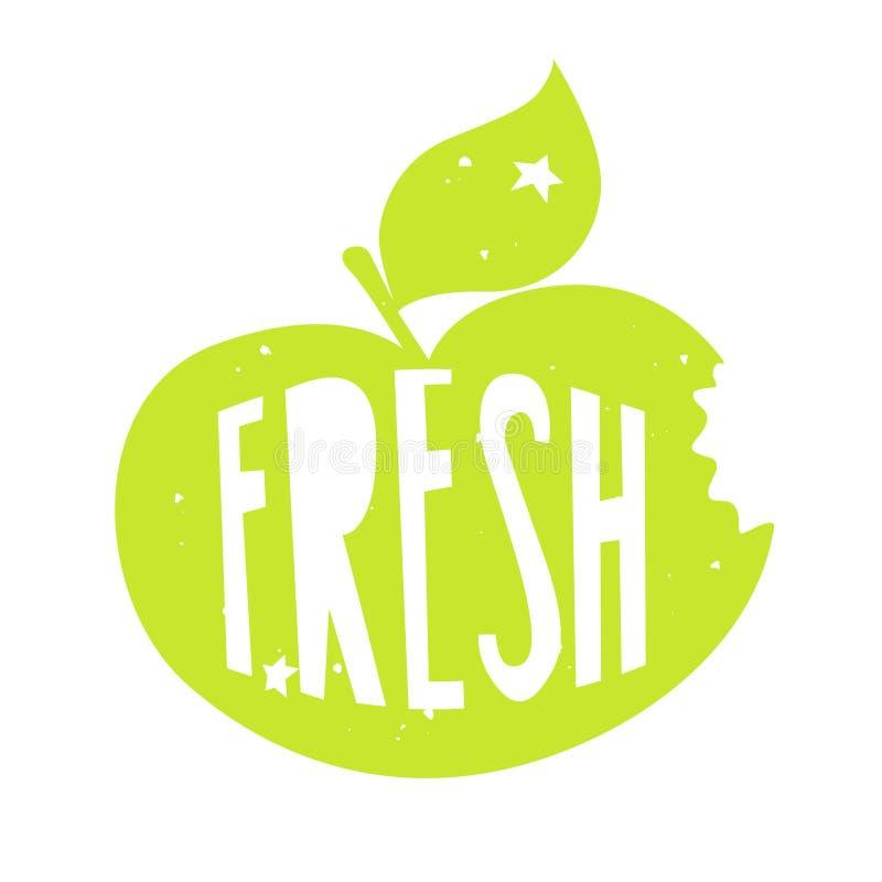 Silhouette d'une pomme verte avec le texte de lettrage frais Label de couleur de vecteur illustration de vecteur