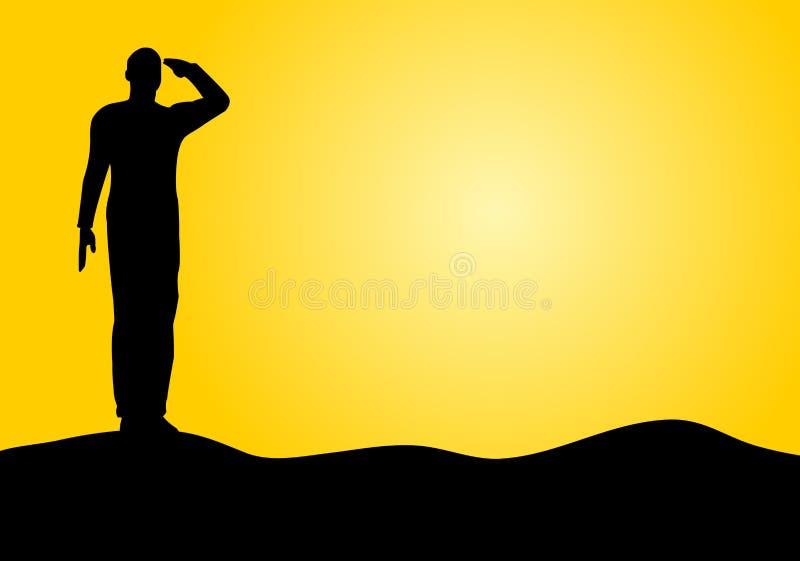 Silhouette d'une salutation de soldat d'armée illustration libre de droits