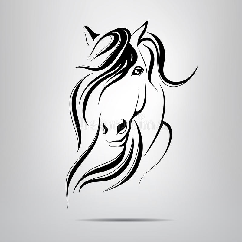 Silhouette d'une tête de cheval photo libre de droits
