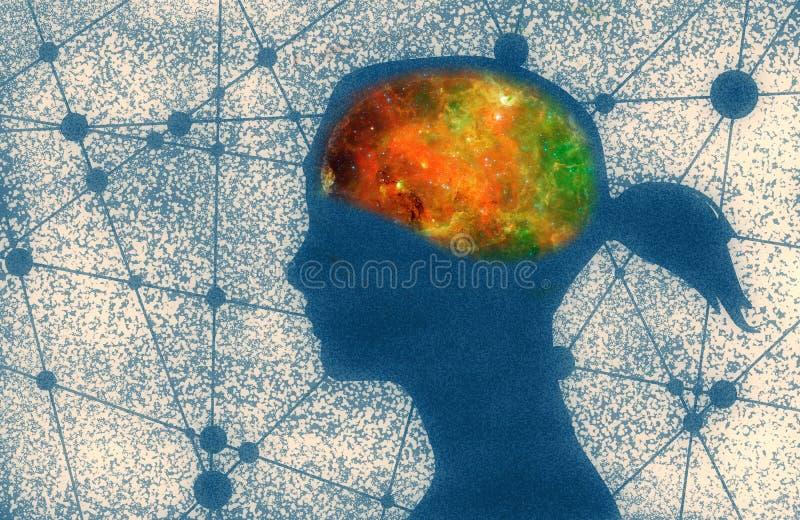 Silhouette d'une tête de filles illustration de vecteur