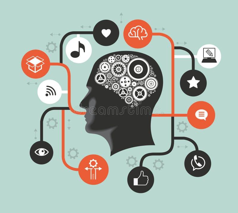 Silhouette d'une tête du ` s d'homme avec des vitesses sous forme de cerveau entouré par des icônes illustration stock