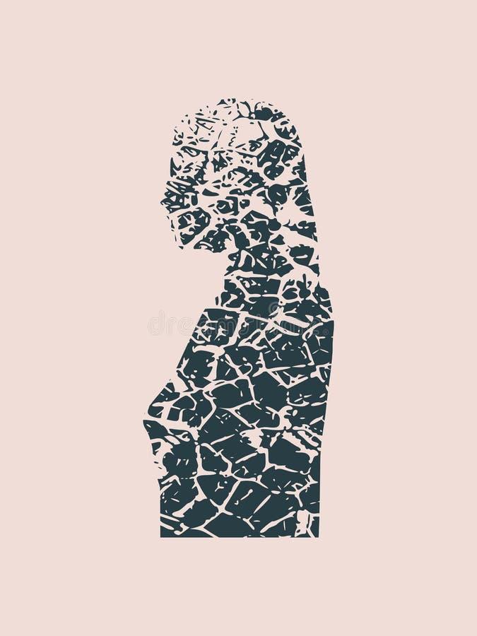 Silhouette d'une tête femelle Vue du côté front illustration de vecteur