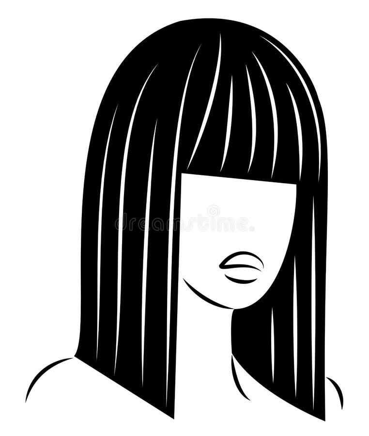 Silhouette d'une t?te d'une dame douce Une fille montre une coiffure d'une femme sur les cheveux moyens et longs Appropri? au log illustration stock