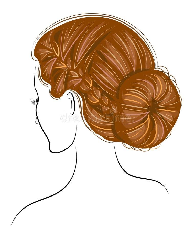 Silhouette d'une t?te d'une dame douce La fille montre ses cheveux sur de longs et moyens cheveux La femme est belle et ?l?gante  illustration de vecteur